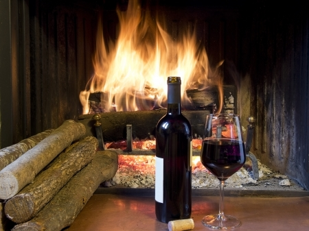 celebrate with a glass of wine, a bottle, in front of a fireplace