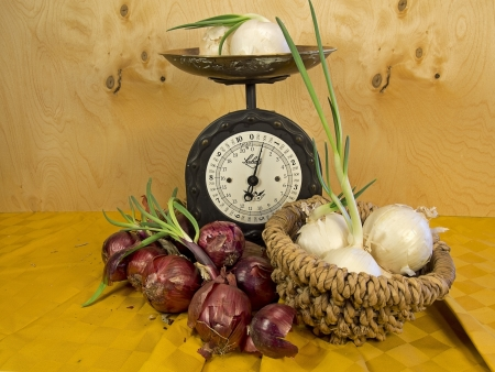 white onions and red near an old scale for a rustic plate