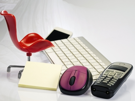 modern business break workplace with chair keyboard mouse telephone  photo