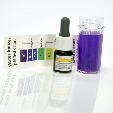 ph: Alkaline water test ph reagent with purple color Stock Photo