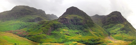 highlands valley of scotland with green mountains