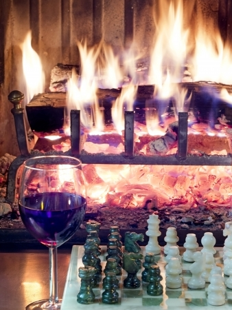 play chess drinking red wine in front of a roaring fireplace photo