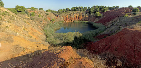 Bauxite Mine with Lake at sunset,  Otranto   Italy panoramic view photo