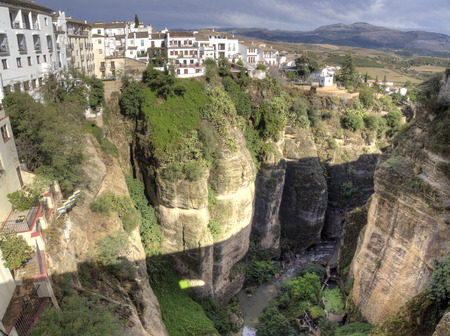 Ronda Village   Spain white houses perched on the rocks panoramic view Editorial