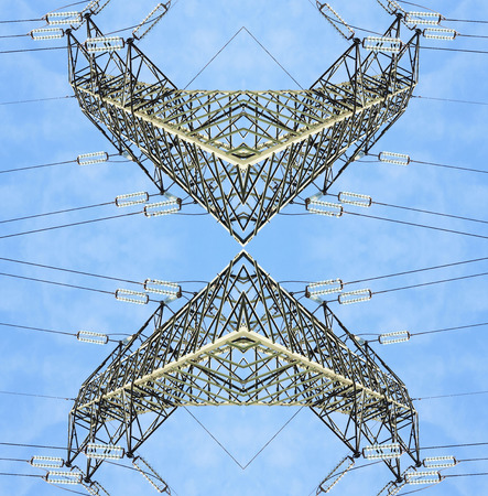 symmetrical surreal high voltage pylons