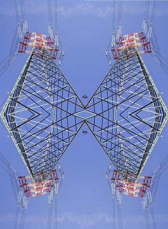 torres el�ctricas: fant�sticas torres de alta tensi�n sim�tricas vista desde arriba