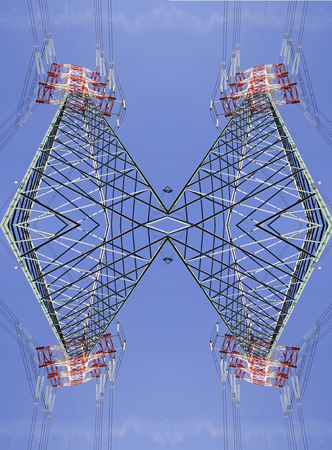 symmetrical fantastic  high voltage pylons view from above