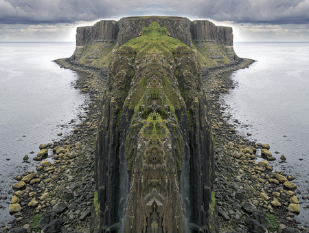 symmetric waterfalls island of Skye in August