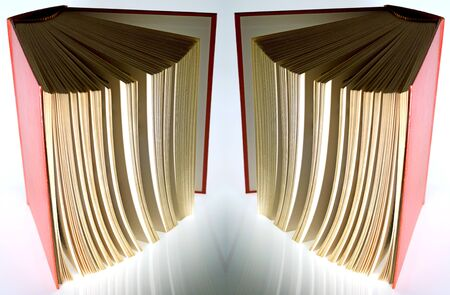 hardback  book opened vertically lights and shadows Stock Photo