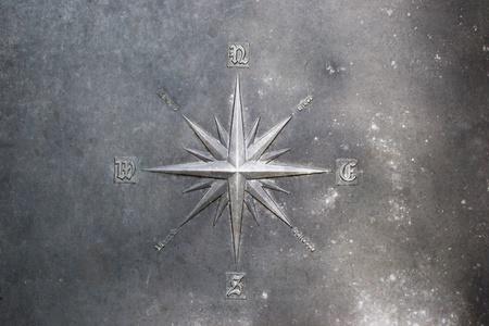 Róża wiatrów, Compass Rose wyryte na metalu