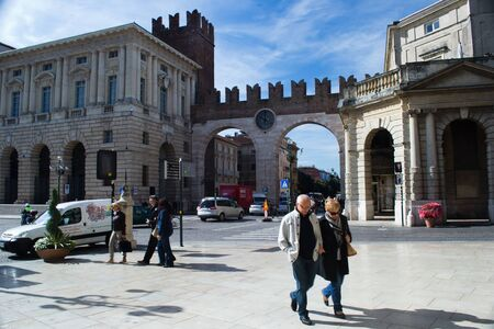 April 26, 2012 Verona, Italy people strolling in square Bra in Verona Stock Photo - 13353852