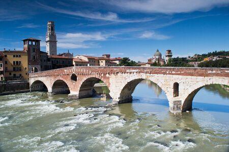 april 26,2012.Verona,italy.panorama del fiume adige dal ponte di pietra romano photo