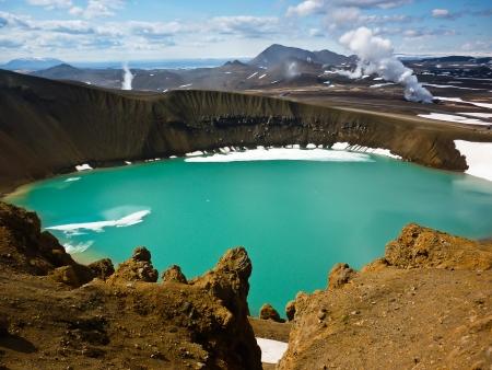 Krater Viti wewnątrz geotermical obszarze Krafla Zdjęcie Seryjne