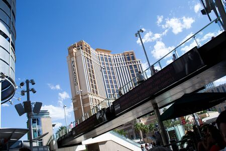 las vegas,nevada,USA-August 12,2012 las vegas city on day time many tourists crossing the strip on the bridges to get from one casino to another