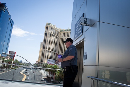 las vegas,nevada,USA-August 12,2012 las vegas city on day time in every corner of las vegas there is a guard on duty there to maintain order