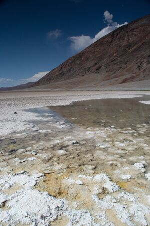 death valley national park,california,USA-august 3,2012  badwater,a salt flat under the sea level photo