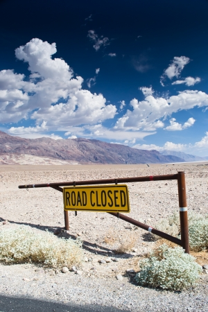 death valley: death valley national park,california,USA-august 3,2012  road closed in the death valley