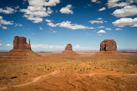 monument valley,utah,USA-august 6,2012 classic view of the monumental valley navajo tribal park Stock Photo
