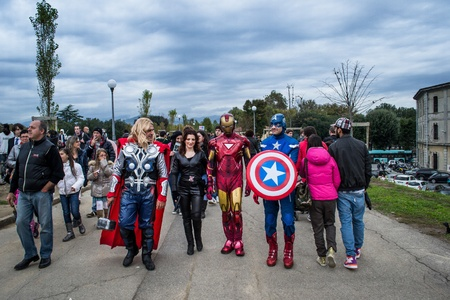 eventful: lucca,italy-november 3,2012 the avengers walk among the people in the Lucca comics and games fair