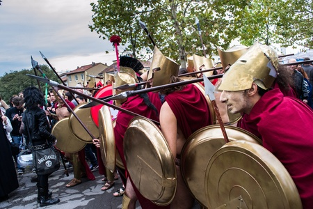 lucca,italy-november 3,2012 group of people dressed as Spartans at the lucca fair