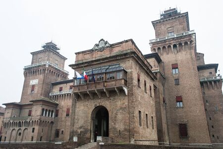 ferrara,italy-november 25,2012  front of the castle of ferrara with white background Stock Photo - 16605660