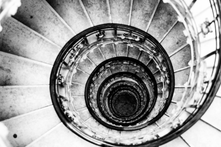 spiral staircases form a spiral Stock Photo