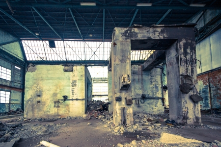 abandoned warehouse: interior of an abandoned industrial area