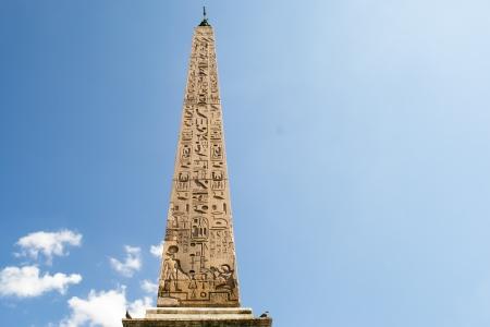 Rome,Italy-March 16,2013 obelisk in center of the piazza del popolo in rome