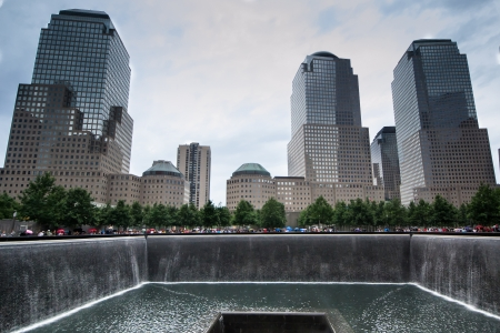 One of the waterfalls in the memorial plaza, set within the footprints of the original Twin Towers