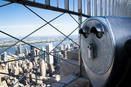 aereal: New York City, USA - August 14,2013 the skyscrapers of New York there are these binoculars to better observe the panorama