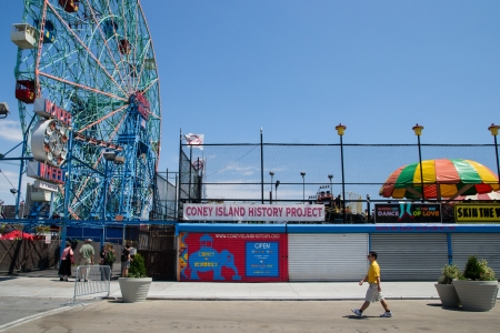 New York, USA -August 6,  2013 view of ferris wheel in Coney Island amusement park and people that walking
