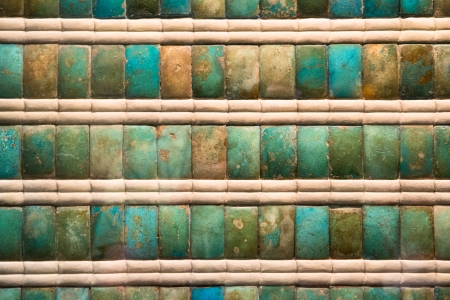ancient Egyptian mosaic tiles with colors of various shades of green