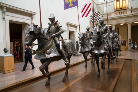 New York,USA -august 7,2013 many people stop to admire the riders on parade at the Metropolitan Museum in New York