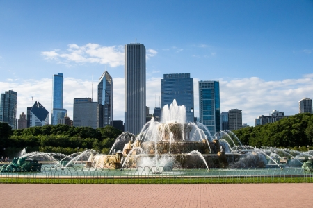 Skyscrapers from the Clarence Buckingham Memorial Fountain in Grant Park, Chicago