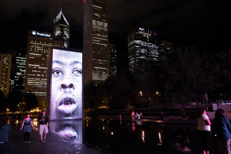 plensa: Chicago,USA-august 14,2013 Night shot of the Crown Fountain, by the artist Jaume Plensa at the Millennium Park in Chicago, IL  Editorial