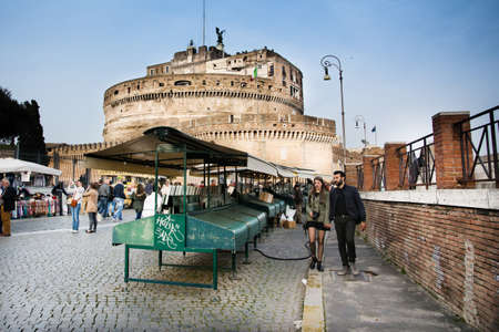 Rome,Italy-March 15,2014 Tourists stroll among the stalls near Castel Sant