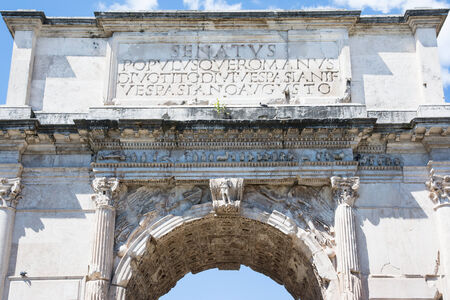 particular of the arch of titus in Rome Editorial