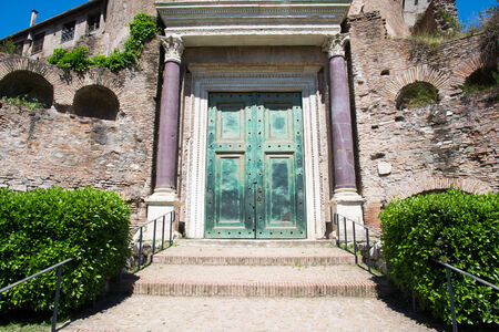 particular of the bronze door of the temple of romolo in the roman forum Stock Photo