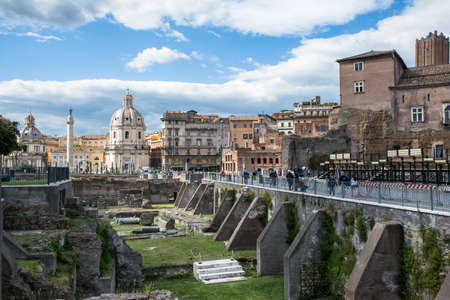 view of the roman forum in rome during a sunny day