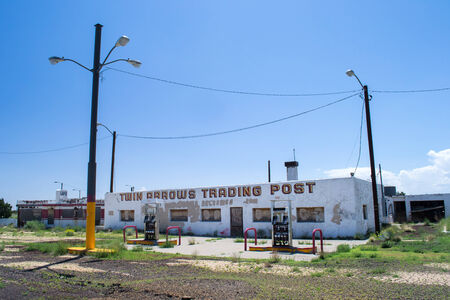 rout: Arizona,USA-August 6,2012 view of a old and famous twin arrows trading post located on the rout 66 in Arizona during a sunny day