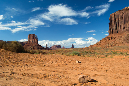 western usa: view of a particular rock formation inside the monumental valley navajo tribal park during a sunny day in monument valley, utah, USA