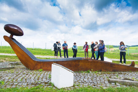 Mauthausen, Austria - May 10,2014 people admire the monument to the women and child near the Mauthausen camp in Austria during a cloudy day