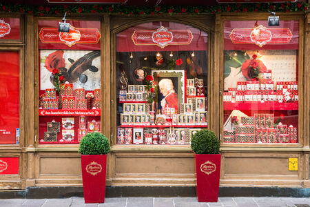 Salzburg,Austria-May 11,2014 one of the many quaint shops that sell typical chocolates in the center of Salzburg during a cloudy day