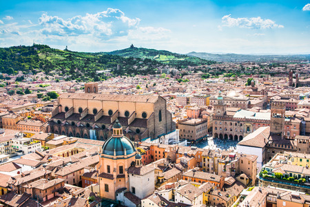 Bologna,Italy-May 17,2014 panorama of Bologna view from the famous  Asinelli  tower located in the centre of the city You can see the dome of St  Petronio and the central main square  Editorial