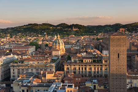 Bologna,Italy-May 17,2014:panorama of Bologna view from the famous Prendiparte tower located in the centre of the city.You can see the the red and old houses and tower of the city. Stock Photo