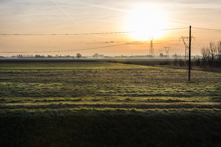 Sunrise in the countryside italy During a winter day