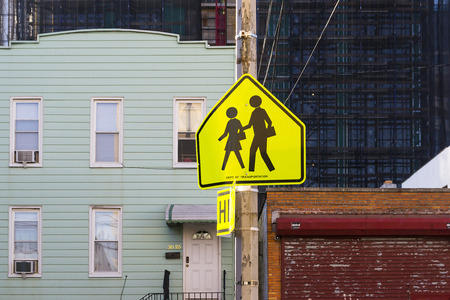 urban planning: urban sign Indicates That a school Stock Photo