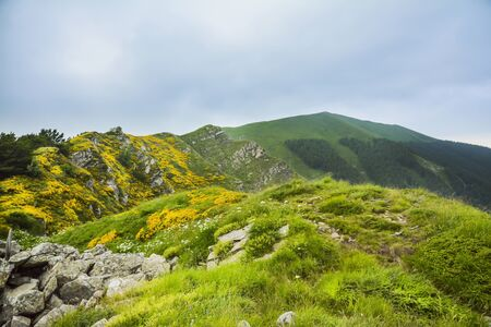 apennines: Panorama of Italian Apennines near the mountain called the Horn of the stairs near the town of Lizzano in Belvedere during a sunny day. Stock Photo