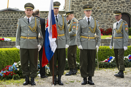 segregation: Mauthausen, Austria-May 10.2015: military celebration of the Mauthausen camp liberation by all the countries involved paying tribute to the fallen through military parades and floreal wreaths on monuments during a sunny day.