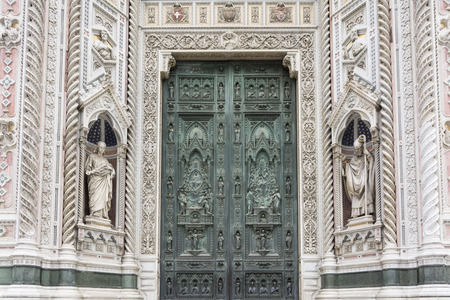 church dome: Florence, Italy-August 26.2014: view of main door of Santa Maria del Fiore dome in Florence - Italy During a sunny day.